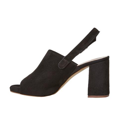 Sandali di pelle con tacco stabile bata, nero, 763-6577 - 26
