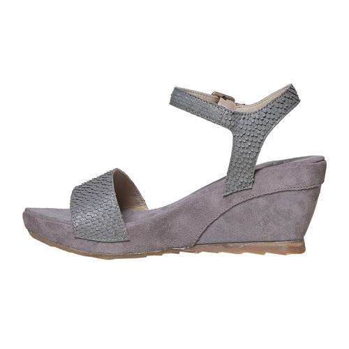 Sandali in pelle da donna con plateau bata, grigio, 764-2597 - 26