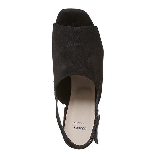 Sandali di pelle con tacco stabile bata, nero, 763-6577 - 19
