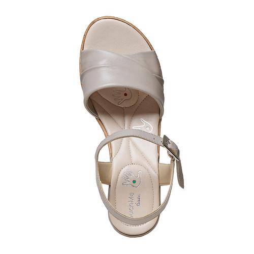Sandali da donna con tacco naturale bata-touch-me, grigio, 664-2231 - 19