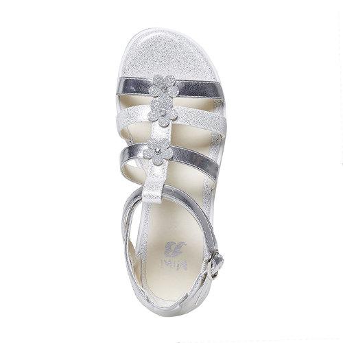 Sandali argentati con applicazioni floreali mini-b, grigio, 361-2203 - 19