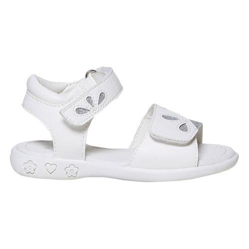 Sandali bianchi da ragazza con glitter mini-b, bianco, 261-1188 - 15
