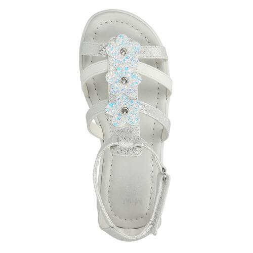 Sandali da ragazza con applicazioni floreali mini-b, bianco, 261-1178 - 19