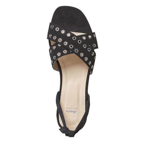 Sandali in pelle da donna con borchie, nero, 563-6495 - 19