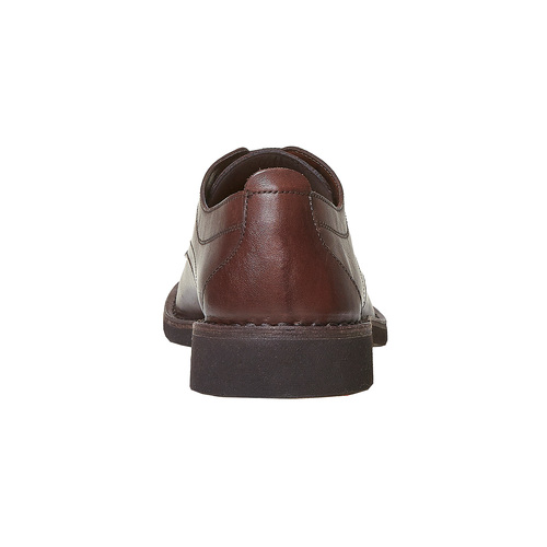 Scarpe basse in pelle marrone con cuciture bata, marrone, 854-4111 - 17
