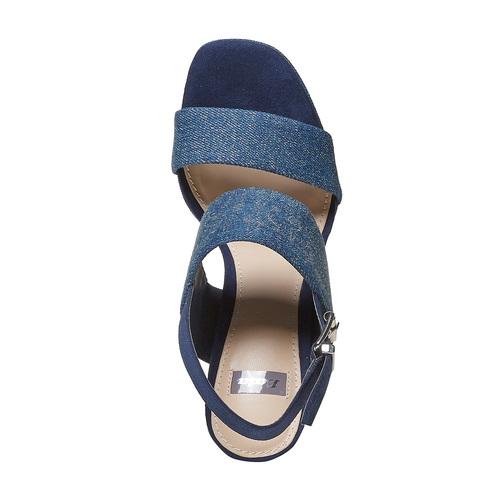 Sandali blu con tacco alto bata, blu, 769-9541 - 19