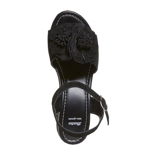 Sandali da donna in pelle con flatform bata, nero, 763-6686 - 19