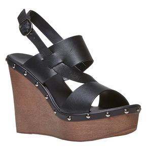 Sandali da donna in pelle con plateau bata, nero, 764-6674 - 13
