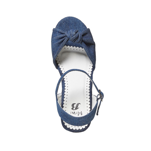 Sandali da bambina con plateau basso mini-b, blu, 369-9219 - 19