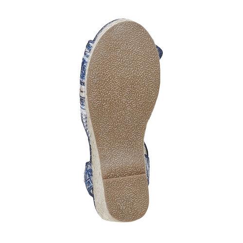 Sandali da ragazza con plateau naturale mini-b, blu, 369-9220 - 26