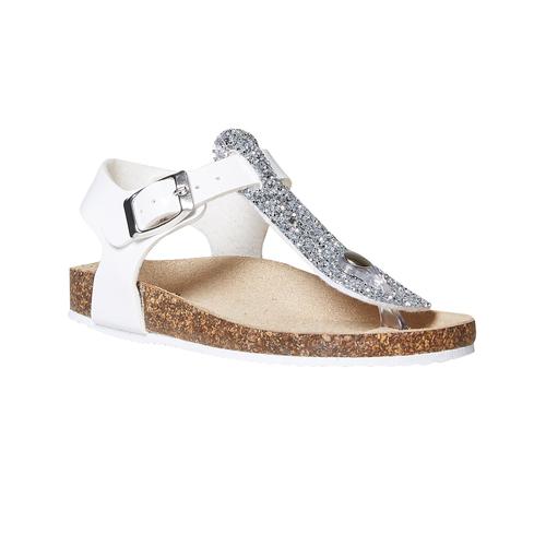 Sandali da bambina con glitter mini-b, bianco, 361-1231 - 13