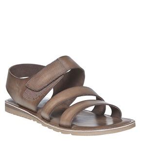 Sandali in pelle con chiusura a velcro bata, marrone, 864-4260 - 13
