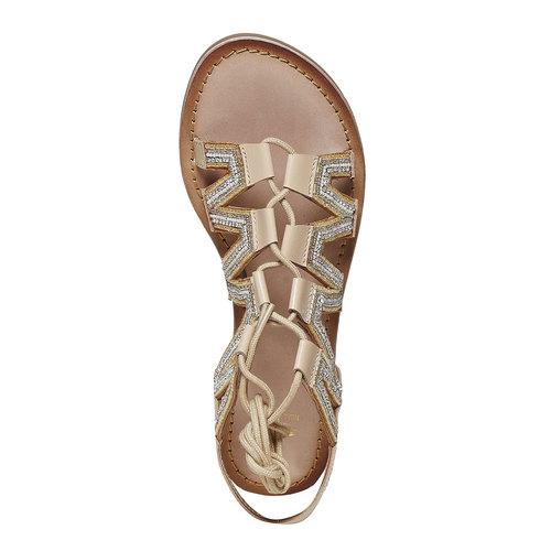 Sandali in pelle da donna con perline bata, giallo, 564-8457 - 19