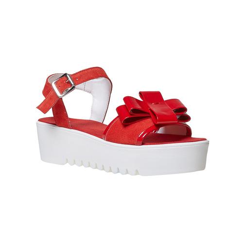 Sandali rossi in pelle con fiocco bata, rosso, 663-5111 - 13
