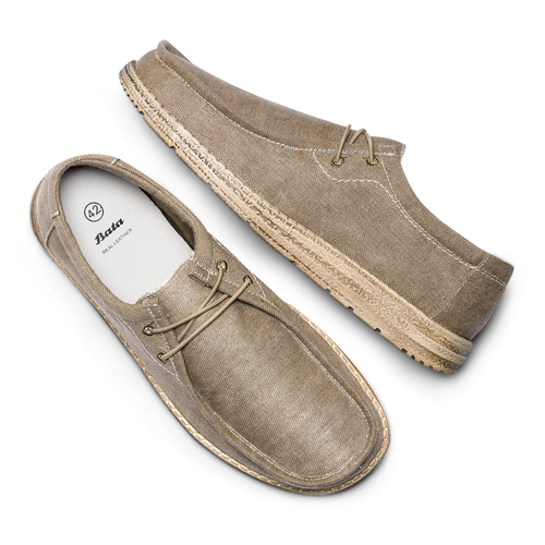 Stringate in canvas bata, beige, 859-2280 - 26