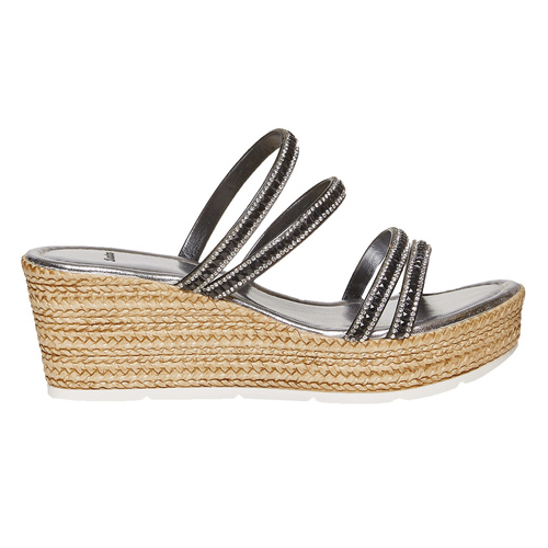 Slip-on da donna con strass bata, nero, 771-6104 - 15