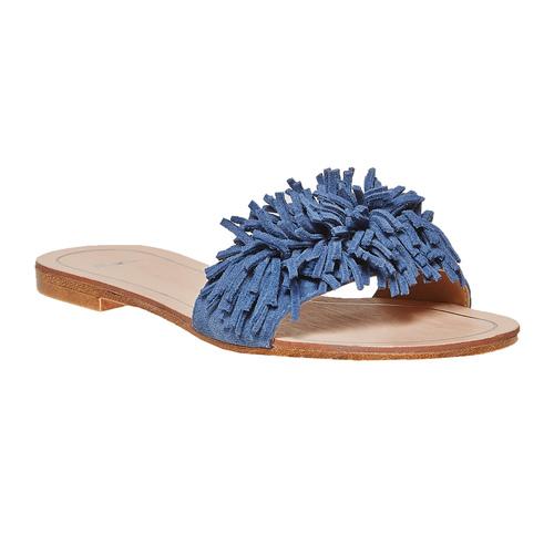 Slip-on blu in pelle con frange bata, blu, 573-9354 - 13