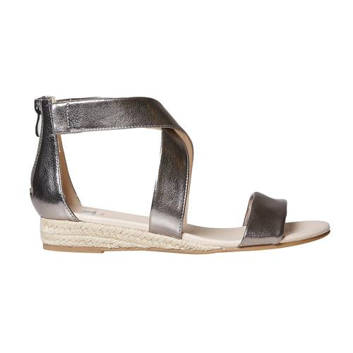 Sandali da donna con zeppa bassa bata, argento, 561-1505 - 15