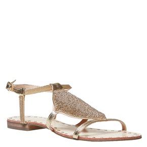 Sandali dorati da donna con strass bata, 561-8498 - 13