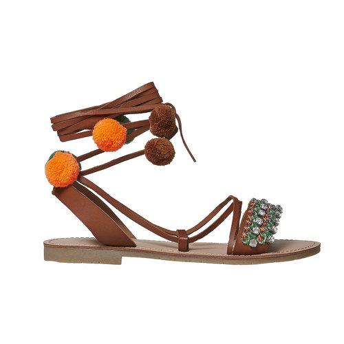 Sandali da donna con lacci bata, marrone, 561-4497 - 15