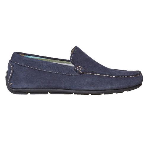 Mocassini in pelle blu bata, blu, 853-9104 - 15