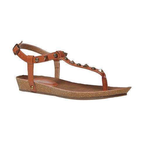 Sandali da donna con suola in sughero bata, marrone, 561-3292 - 13