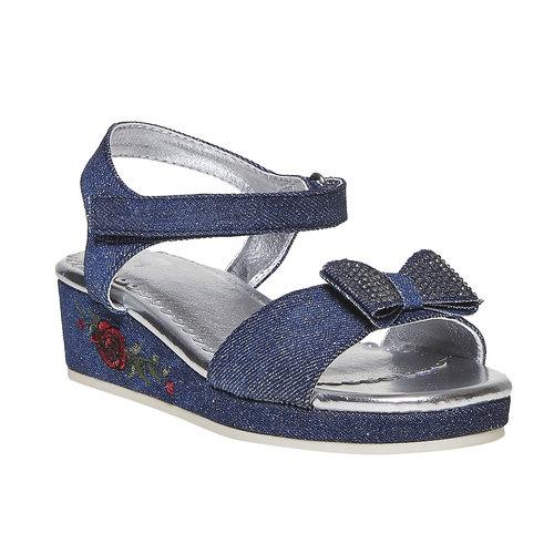 Sandali blu da ragazza con ricamo mini-b, blu, 369-9205 - 13