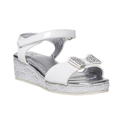Sandali da ragazza con plateau basso mini-b, bianco, 361-1205 - 13
