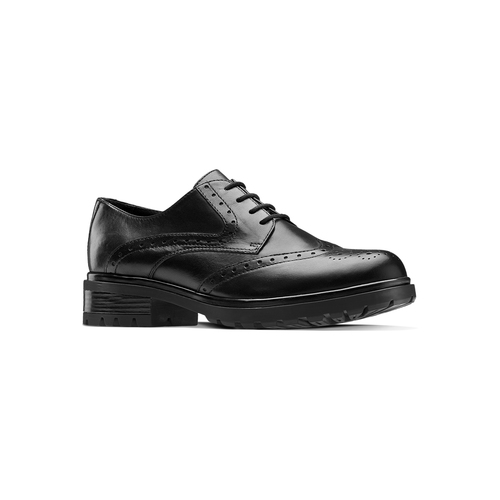 Derby in pelle con trafori Brogue bata, nero, 524-6648 - 13