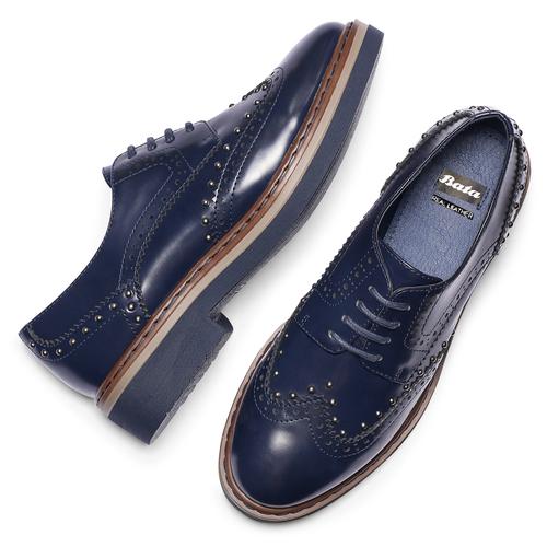 Scarpe basse stringate blu bata, blu, 521-9657 - 19