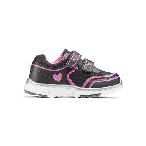 Sneakers da bambina con glitter, nero, 229-6175 - 26