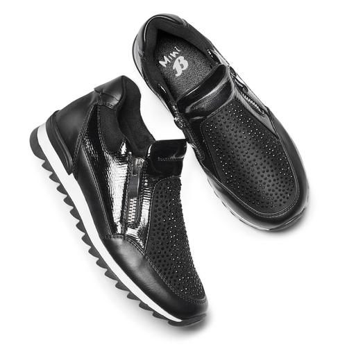 Sneakers slip-on con strass mini-b, nero, 329-6297 - 19