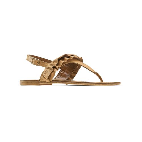 Sandali in pelle con rouches bata, marrone, 564-3118 - 13