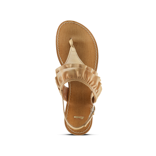 Sandali in pelle con rouches bata, marrone, 564-3118 - 15