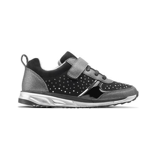 Sneakers metallizzate con strap mini-b, nero, 329-6295 - 26