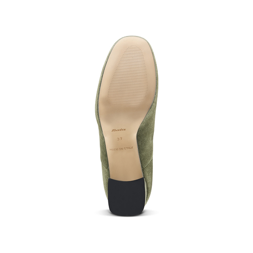 Francesine in pelle color verde militare con tacco largo bata, verde, 723-7951 - 17