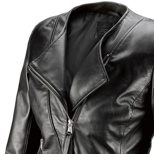Giacca in pelle nera bata, nero, 974-6177 - 15