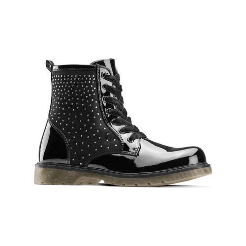 Ankle boots con strass mini-b, nero, 391-6402 - 13