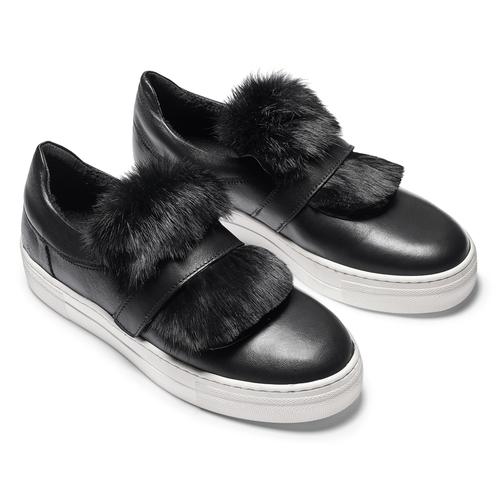 Sneakers in pelle e pelliccia north-star, nero, 544-6114 - 19