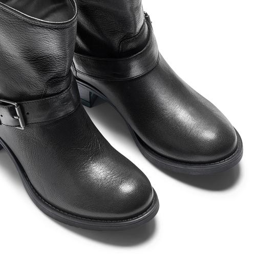 Ankle Boots in pelle con fibbia bata, nero, 694-6420 - 15