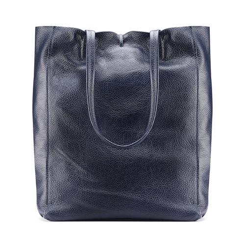 Shopper in Vera Pelle bata, blu, 964-9122 - 26