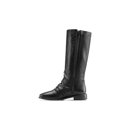 Stivali con dettaglio arricciato bata, nero, 594-6355 - 16