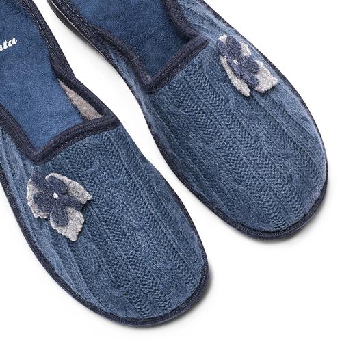 Ciabatte donna in lana bata, blu, 579-9421 - 19