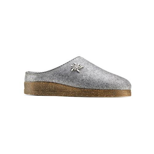Pantofole in lana cotta bata, grigio, 579-2420 - 13