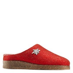 Pantofole da donna in lana bata, rosso, 579-5420 - 13