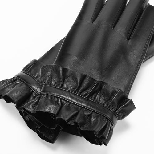 Guanti con rouches bata, nero, 904-6132 - 26