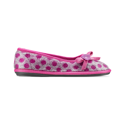 Pantofole in lana cotta a pois bata, rosso, 579-5422 - 26