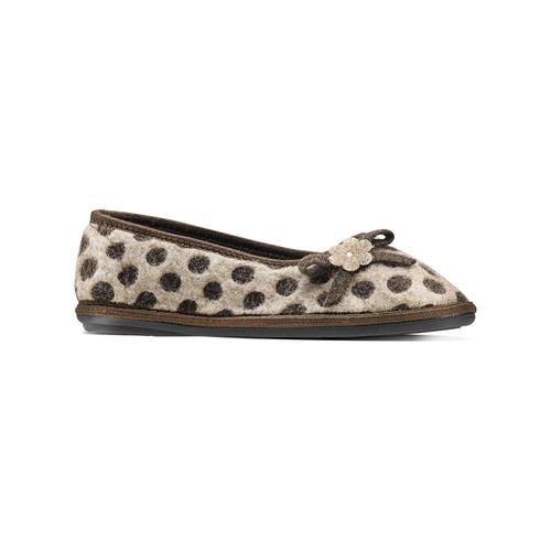 Pantofole da donna a pois bata, marrone, 579-4422 - 13