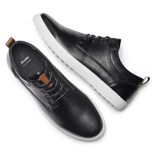 Sneakers in similpelle bata, nero, 841-6154 - 19