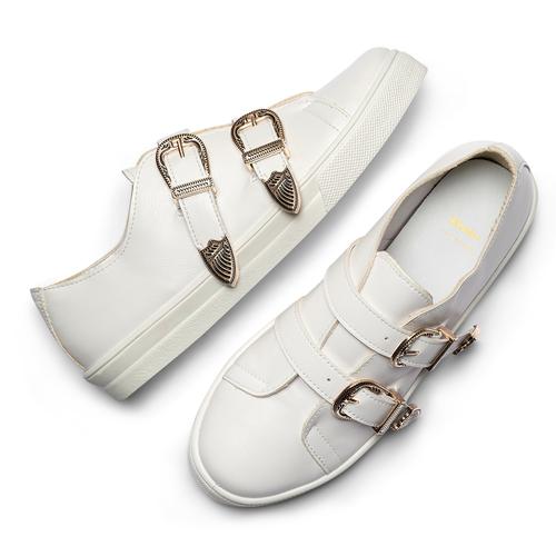 Sneakers con fibbie bata, bianco, 541-1196 - 26